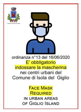 Ordinanza Isola del Giglio - Obbligo indossare mascherina nei centri urbani