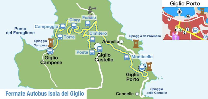 Mappa delle Fermate Autobus Isola del Giglio