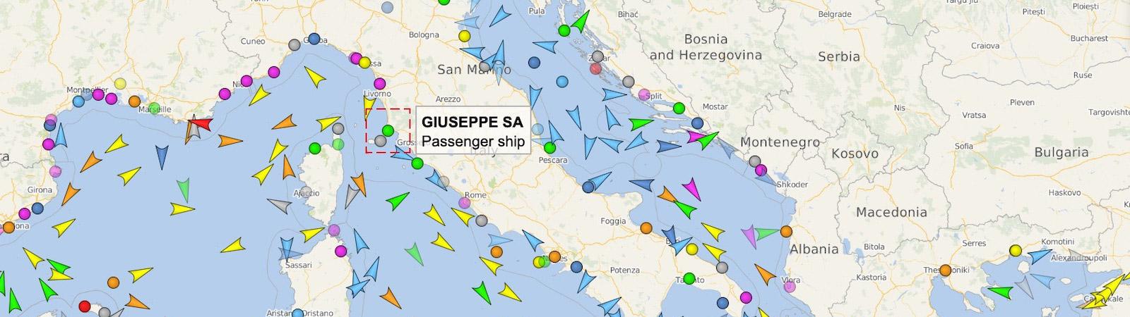 Posizione attuale delle Navi e Traghetti