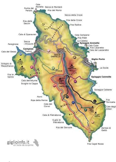 Mappa Isola del Giglio
