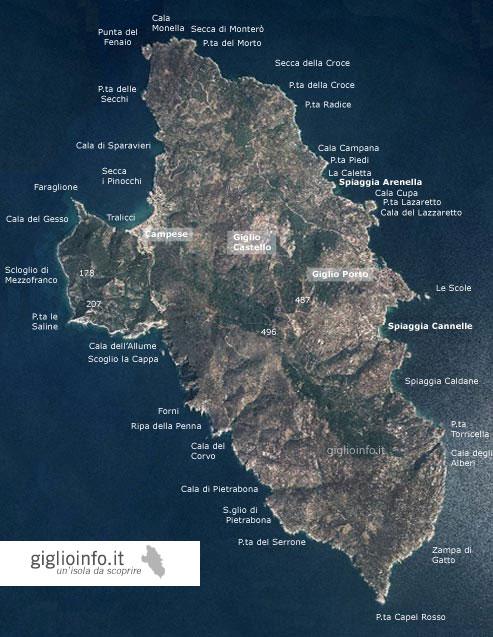 Cartina Geografica Satellitare.Mappa Isola Del Giglio