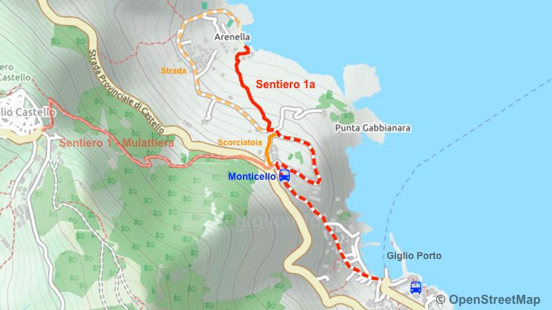 Spiaggia dell'Arenella - Mappa Sentiero