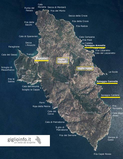 Mappa Satellitare isola del Giglio con Nomi Spiagge