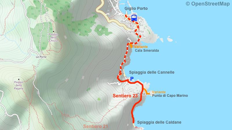 Mappa Sentiero 23 Spiaggia delle Caldane