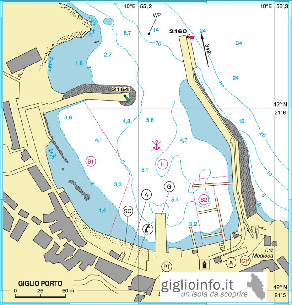 Mappa Giglio Porto per Ormeggio