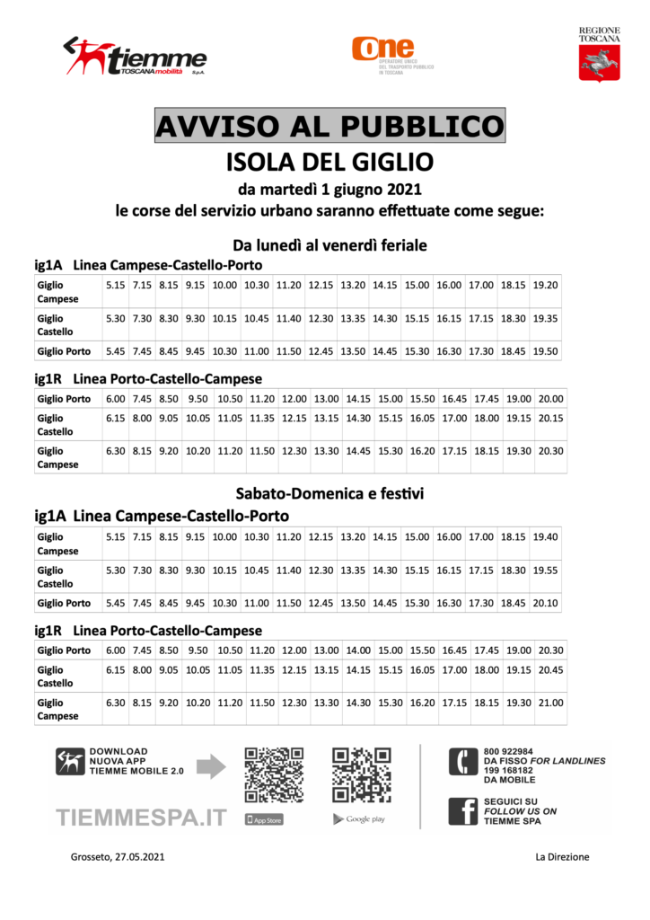Orari Autobus Isola del Giglio Giugno 2021