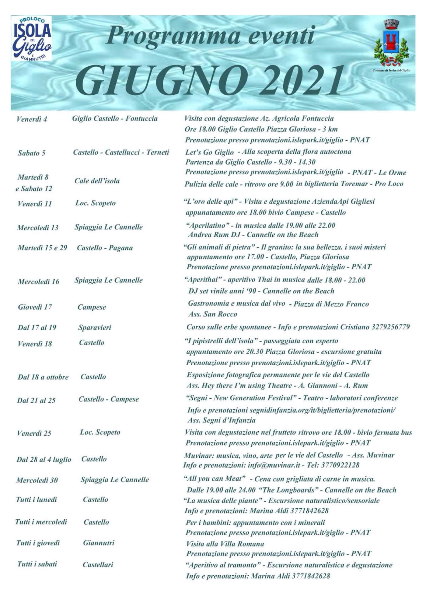 Calendari Eventi e Manifestazioni Isola del Giglio - Giugno 2021