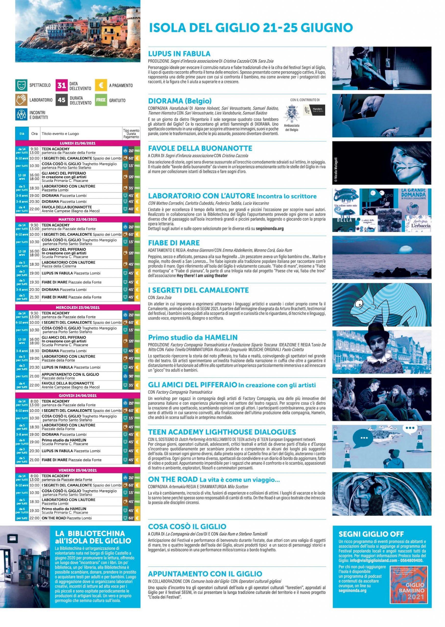 Programma Isola del Giglio 21-25 Giugno