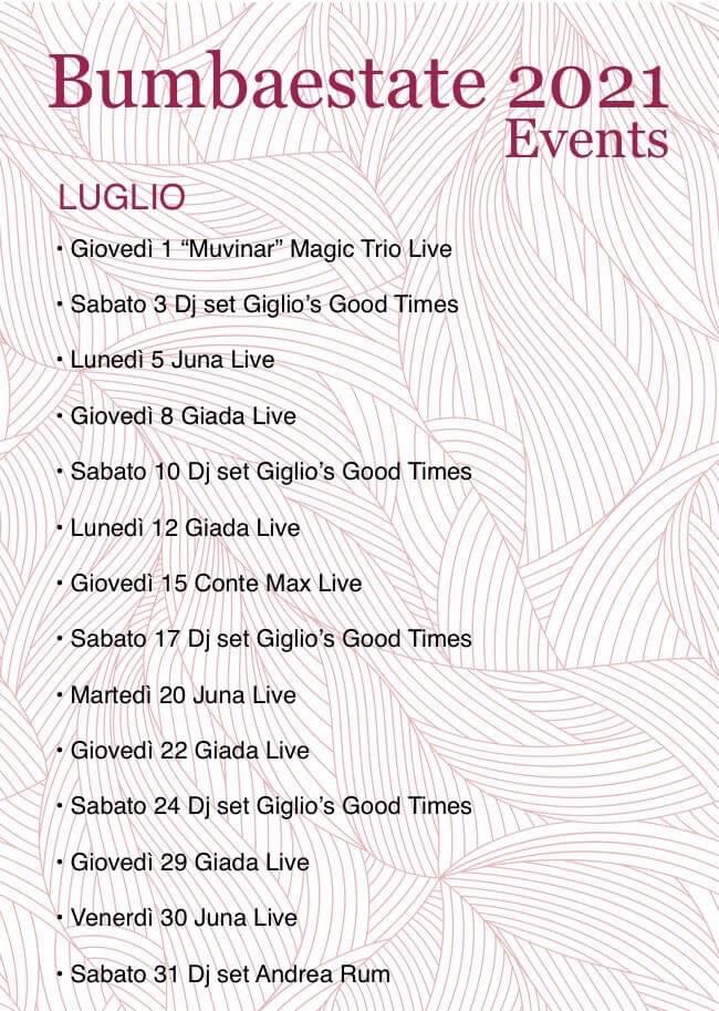 Calendario Eventi Bumbabar Giglio Castello Luglio 2021