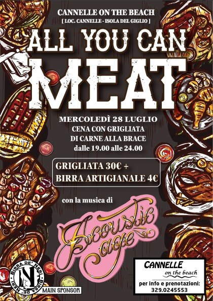 Locandina Evento 28-07 All you can Meat, Cannelle on the Beach Giglio