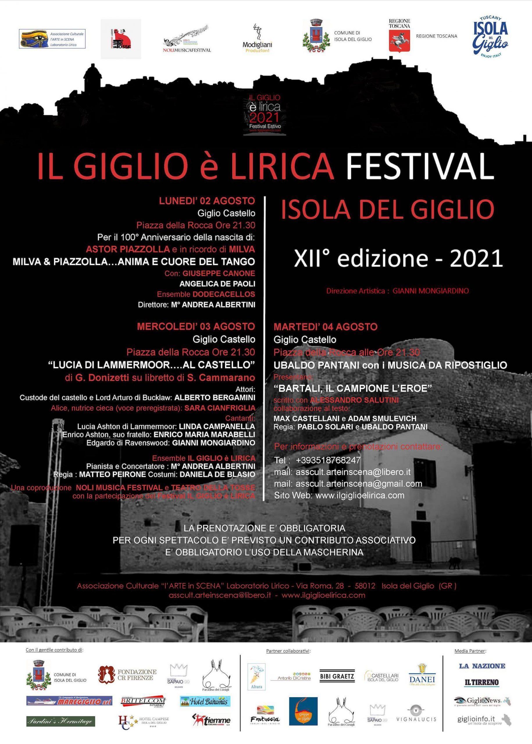 Locandina evento estivo Il Giglio è lirica Festival 2021