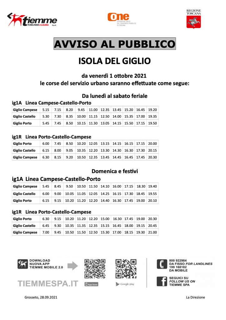 Orari Autobus Isola del Giglio Ottobre 2021