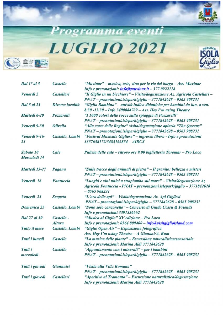 Calendario Eventi Isola del Giglio Luglio 2021